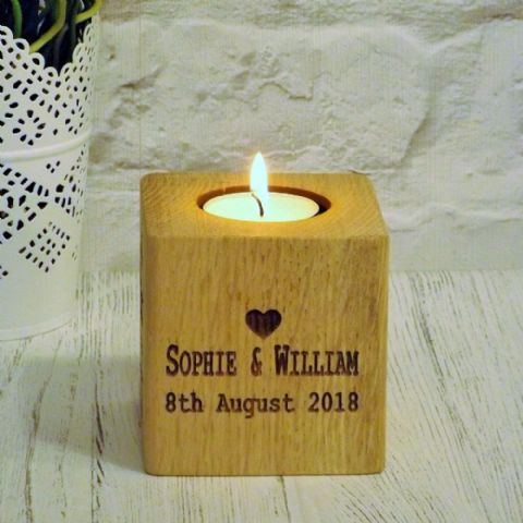 Personalised Love Heart T Light Candle Holder English Oak Wood